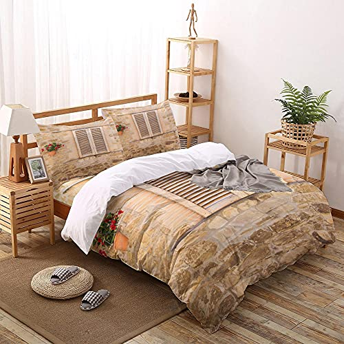 OTNYHBJ Bettbezug Beigebraune Wandfenster Bettbezug Bettwäsche Set mit Reißverschluss & Kissenbezug Microfaser 220x240 cm
