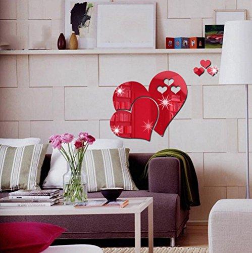 DIY Cercle Acrylique Miroir Vinyle Art Mural Wall Sticker Chambre Décoration Canapé TV Fond Décor À La Maison Mur, Rouge