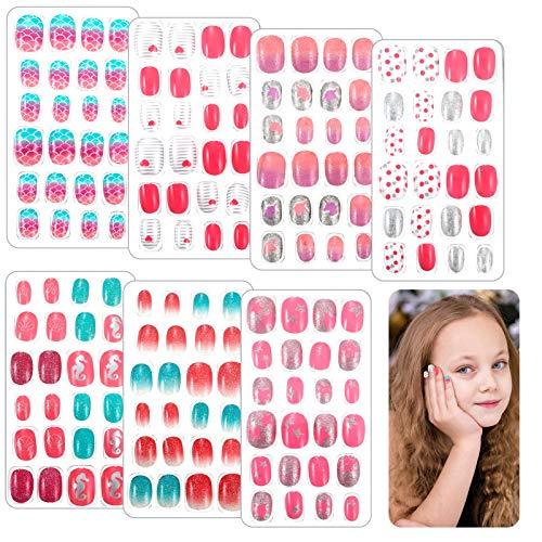 Heyu-Lotus 168 Stück Nägel Zum Aufkleben für Kinder, Mädchen Falsche Nägel elbstklebende Künstliche Fingernägel Set für Kleinen Händen Damen