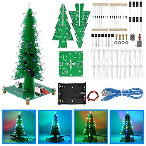 Youmile Christmas Tree RGB LED Kit bricolaje Colorido parpadeante Árbol Navidad 3D Soldadura electrónica Placa PCB de aprendizaje para práctica de soldadura con cable mini USB, batería AA de 3 ranuras