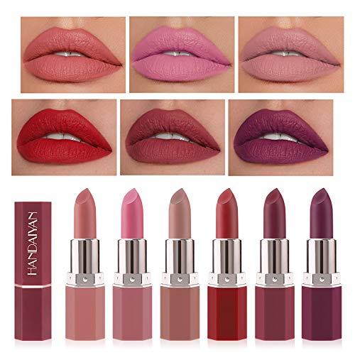 Matte Lippenstifte Set, Richaa 6 Farben Samtroter Lippenstift Langlebiger Wasserdichter Lipgloss für Frauen Mädchen Make Up Geschenkset