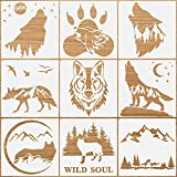 9 Pieces Forest Wolf Claw Print Stencils Moon Mountain Stencils Animal Pattern Templates Mylar Reusable Forest Stencils with Metal Open Ring for Painting on Wood Wall Home Decorations