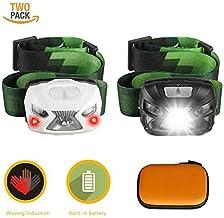 JJFly 2Pcs 5000LM Headlamp,XPE LED Smart Sensor 4-Mode Built-in Battery Headlights Wave Induction(Black&White)