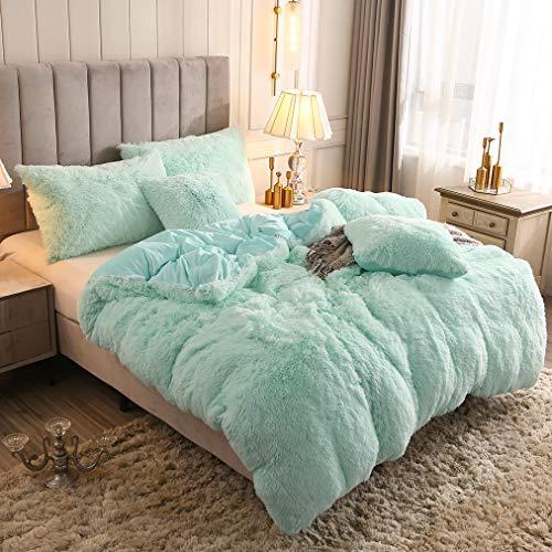 Uhamho Solid Fluffy 1PC Faux Fur Plush Duvet Cover Luxury Shaggy Velvet Bedspread Zipper Closure (Aqua, Twin)