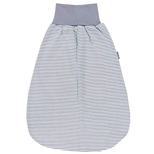 TupTam Unisex Baby Strampelsack mit breitem Bund Unwattiert, Farbe: Streifenmuster Grau, Größe: 0-6 Monate