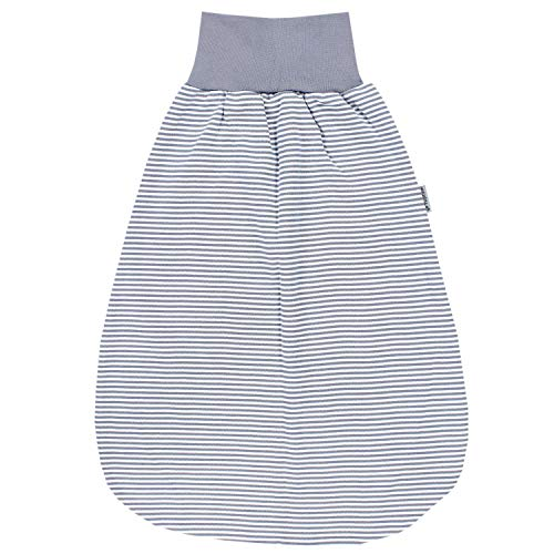 TupTam Unisex Baby Strampelsack mit breitem Bund Unwattiert, Farbe: Streifenmuster Grau, Größe: 6-12 Monate