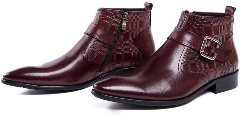 GLSHI Bottines D'affaires pour Hommes Pointues Version européenne du Cuir Pur Bottes Simples Chaussures en Cuir