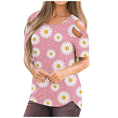 SNKSDGM Blusen & Tuniken für Damen Damen Tshirt Sommer Blusen & Tuniken FüR Damen Sommer Frauen Gradient Sommer Kurzarm Riemchen Riemchen kalte Schulter T-Shirt Tops Blusen