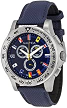 Nautica Men's Blue Dial Leather Band Watch - A19597G, Blue Band, Chronograph Display