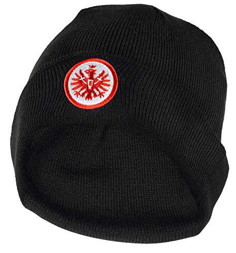 Eintracht Frankfurt Wintermütze Classic, Beanie schwarz mit Logo, Mütze SGE - Plus Lesezeichen I Love Frankfurt