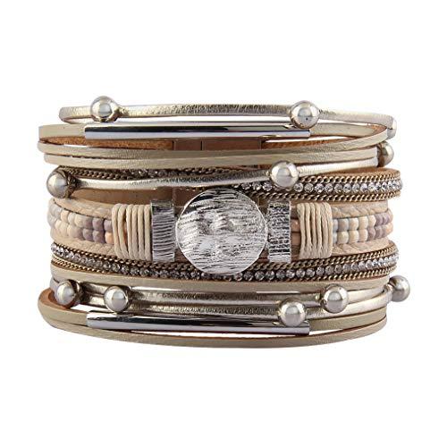 Leather Wrap Bracelet Multilayer Braided Bracelet Boho Cuff Bracelet Tube Handmade Bangle Bohemian Jewelry for Women