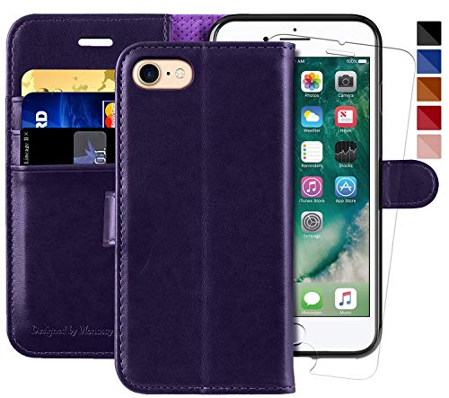 MONASAY iPhone 7 Wallet Case/iPhone 8 Wallet Case,4.7-inch, [Glass Screen Protector Included] Flip Folio Leather Cell Phone Cover with Credit Card Holder for Apple iPhone 7/8 (Purple)
