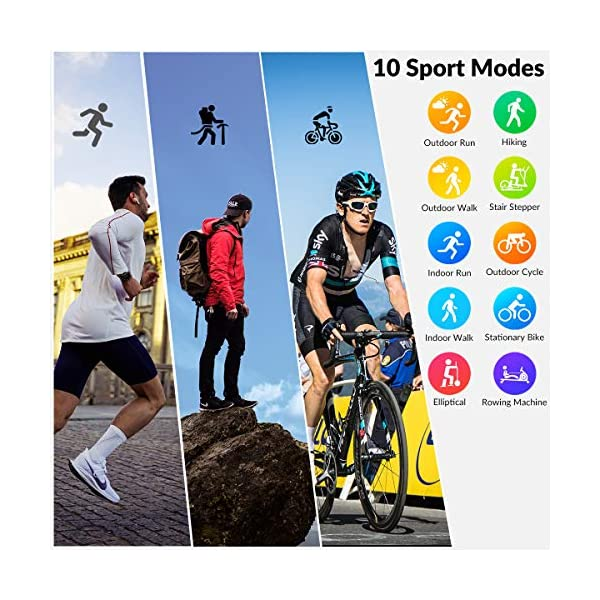 HopoFit Smartwatch Reloj Inteligente, HF06 Pantalla Táctil Completa Circular Impermeable Podómetro Pulsómetros, Monitor… 4