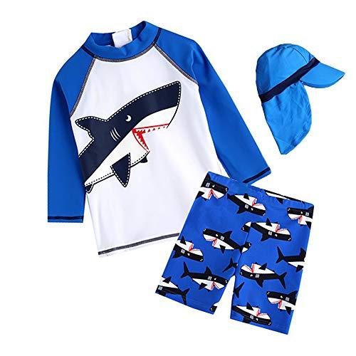 7-Mi Schwimmanzug Kinder,UV-Schutz Einteiler Haiwärmender Badeanzug- 3D Hai Baby/Mädchen/Jungen/Schwimmbekleidung, Himmelblau,  93/98