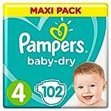 Pampers Baby-Dry Windeln, Gr. 4, 9kg-14kg, Dreier-Pack (1 x 102 Windeln)