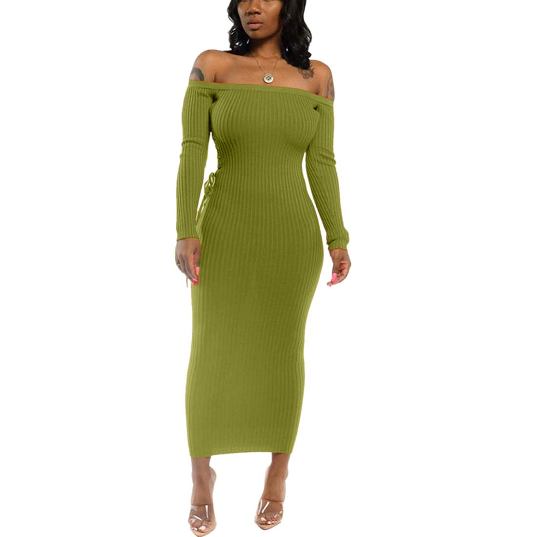 Available at Amazon: Ophestin Long Sleeve Dresses for Women Sexy Elegant Off Shoulder Lace Up Rib Bodycon Party Dress