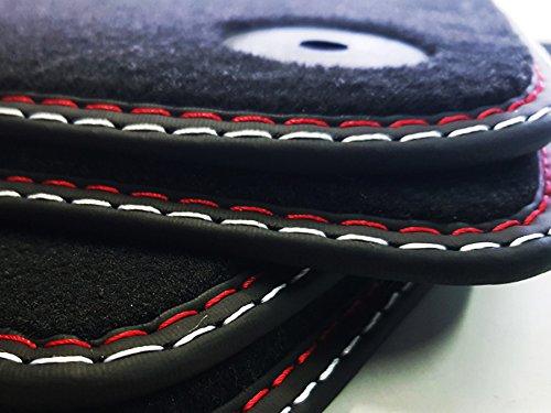 Fußmatten Corsa D Doppelnaht rot-silber Original Qualität Velours Automatten