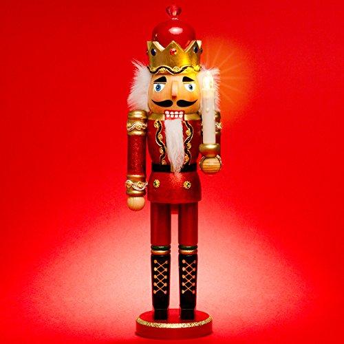 Sikora NK-C aufwändig gestalteter XL Deko Nussknacker aus Holz mit LED Kerze und Fernbedienung, Größe:Höhe ca. 40 cm, Farbe/Modell:C01 rot - KÖNIG
