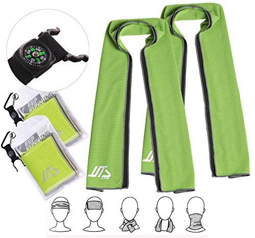 Qshare-Handtuch mit Sofortkühlung, super saugfähige Snap-Kühlhandtücher für Sport und Fitness 100 * 30cm (2 Packung Grün)