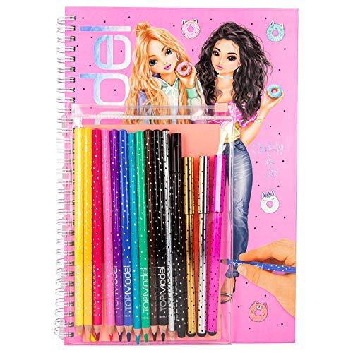 Depesche- Libro da colorare con 10 matite Colorate, Gomma e 4 Penne Sottili, Top Model, Circa 20 x 28,2 x 2 cm, 10049