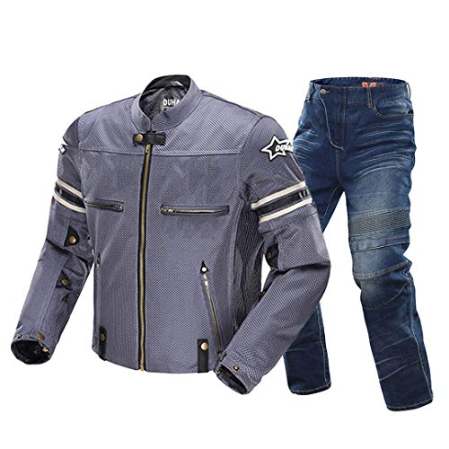 H-MetHlonsy Motorradjacke für Herren atmungsaktiv Reitjacke Motorrad mit abnehmbarem Schutz Blue One Set Jeans XL