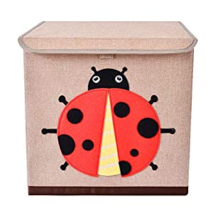 Bagnizer Large Toy Storage Chest Cute Animal Storage Bin with Flip-top Lid Collapsible Foldable Linen Toys Storage Trunk/Box/Basket for Baby Toddler Kids Nursery,13″x13″x13″ Ladybird