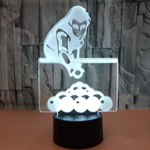 3D Nachtlicht Illusion Lampe Led Play Billiards Deko Licht Stimmungslicht Nachttischlampe 16Farben Ändern Touch Switch Schreibtisch Lampen Geburtstagsgeschenk Weihnachten