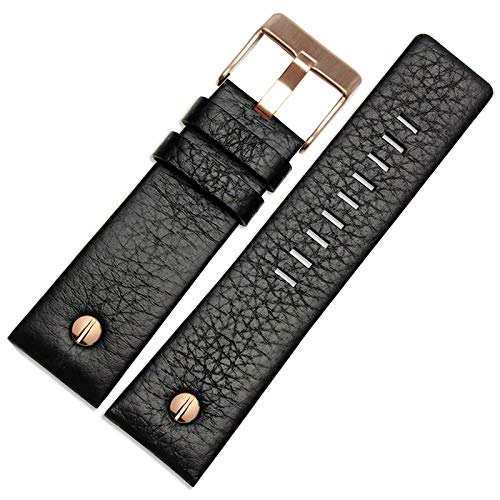 DFGH Echt lederen horlogeband 22 24 26 27 28 30mm horlogeband for diesel horloge band lederen armband (Band Color : Black rose buckle, Band Width : 22mm)