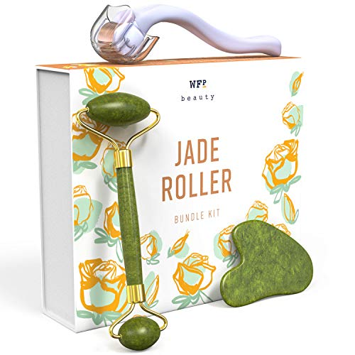 Jade Roller + Gua Sha Tool + Derma Roller 0.25mm Titanium Micro Needles (3-in-1) - Promotes Brighter, Smoother Skin - Supports Increased Lymphatic Drainage, Blood Circulation & Serum Absorption
