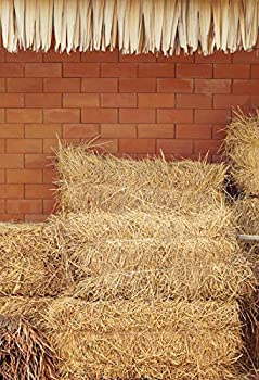 Yeele 3x5ft Rustic Haystacks Background for Photography - Countryside Hay Bales Straw Hayrick Brick Wall Photo Backdrop Autumn Harvest Festival Boy Kids Adult Portrait Shoots Props