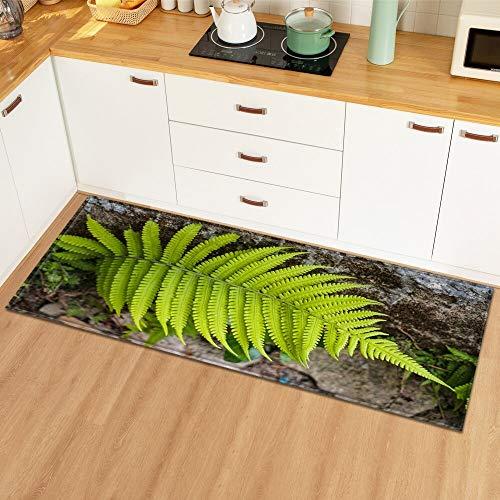 HLXX Eingang Fußmatte Küche Teppich Schlafzimmer Dekoration Bodenteppich Pflanzenmuster Flur Kinderzimmer rutschfeste Badezimmermatte A23 60x180cm