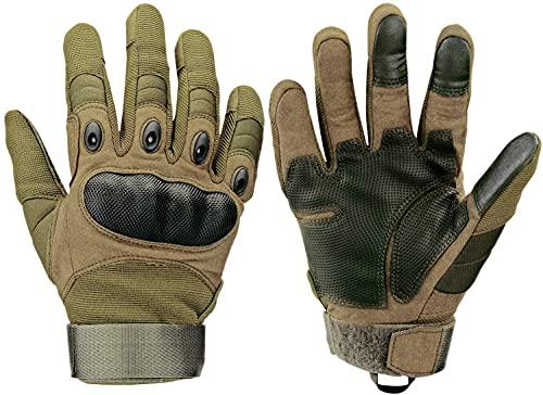 Xnuoyo Gomma dura Nocca Full Finger e Mezza Finger Gloves Guanti di protezione Touch Screen Guanti per Moto Ciclismo Caccia Arrampicata Camping (Verde, M)