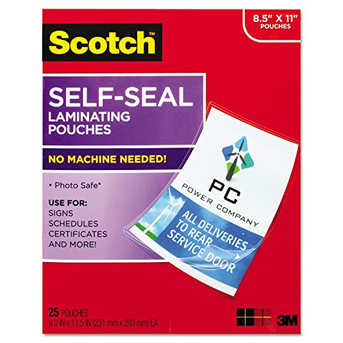 3M-Self-Sealing Laminating Sheets, 9.5 mil, 8 1/2 x 11, 25/Pack
