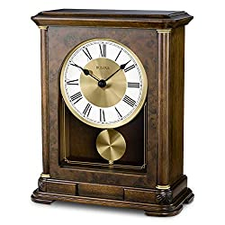 Bulova B1860 Vanderbilt Mantel Clock, Warm Walnut