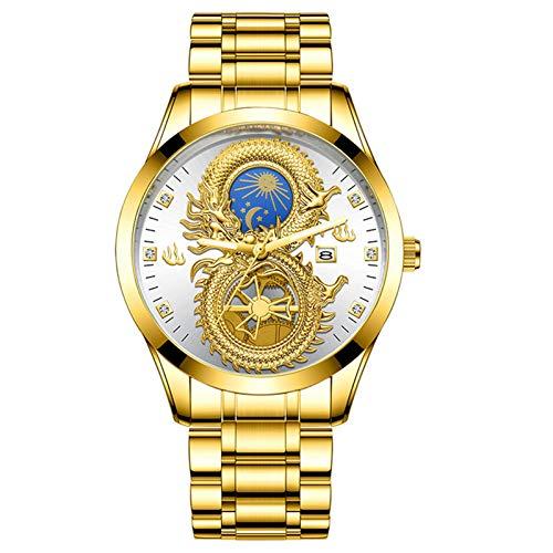 XIHUANNI Reloj de negocios de lujo para hombre, calendario brillante en la oscuridad, chapado en oro, resistente al agua