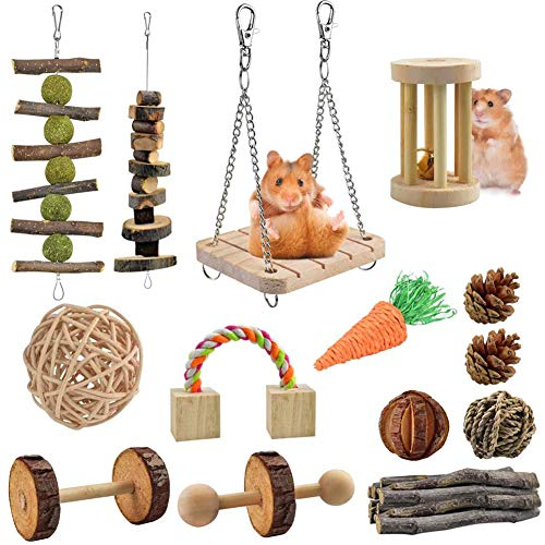 LISSION Hamster Chew Toys Hamster Toys for Cage 14 Pack Natural Wooden Pine Toys Accessories Teeth Care Molar Toy for Guinea Pigs Rats Chinchillas Rabbits Gerbils Small Animals