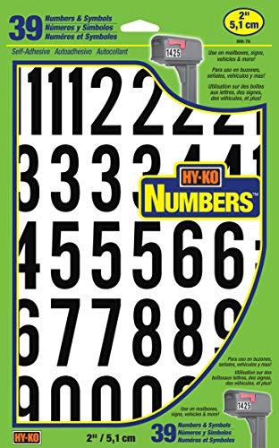 Hy-Ko Products MM-7N Self Adhesive Vinyl Numbers 2  High, Black & White, 39 Pieces
