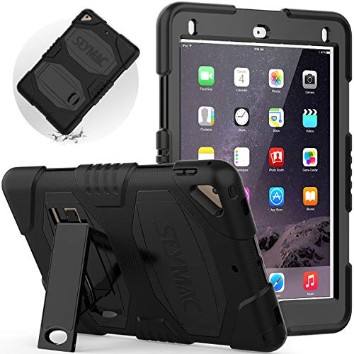 SEYMAC iPad 6th Generation Case, iPad Air 2 Case, iPad Pro 9.7 Case, Shockproof iPad Heavy Duty Case with Built-in kickstand for Sturdy Kids Friendly iPad Protective Case A1822/A1566/A1673(Black)