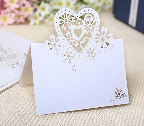 Worldoor 50 Pcs Heart-Shaped Vine Wedding Table Number Name Place Card for Wedding Party Decoration