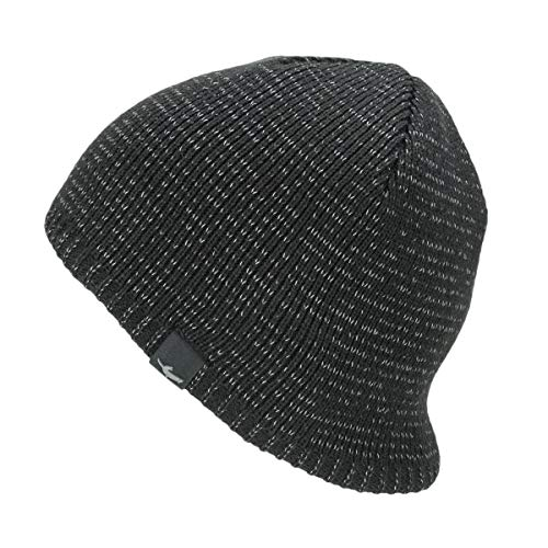 SealSkinz Waterproof Cold Weather Reflective Beanie Mixte Adulte, Black, FR : L (Taille Fabricant : L/XL)