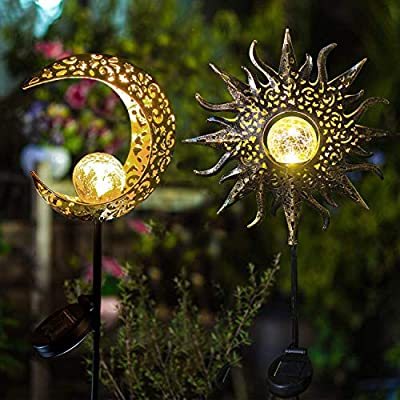 2 Pack-Upgraded 2020 Solar Lights Sun & Moon Decor, Waterproof, Iron, Decorative Stake Beautiful Crackle Globe for Front Yard, Backyard, Garden, Patio or Pool Deck Lighting