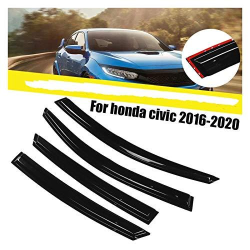 ZLLD Windabweiser Für Honda Civic 2016-2020 Fenster-Deflektoren Fenster-Visier-Entlüftungsschirme Sun Rain Deflektor Guard Fensterabweiser