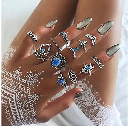 Edary Vintage Blauwe Edelsteen Knuckle Ringen Lotus Gezamenlijke Knuckle Ring Set Zilveren Kristallen Kroon Ringen Veel geluk voor Vrouwen en Meisjes (13PCS)