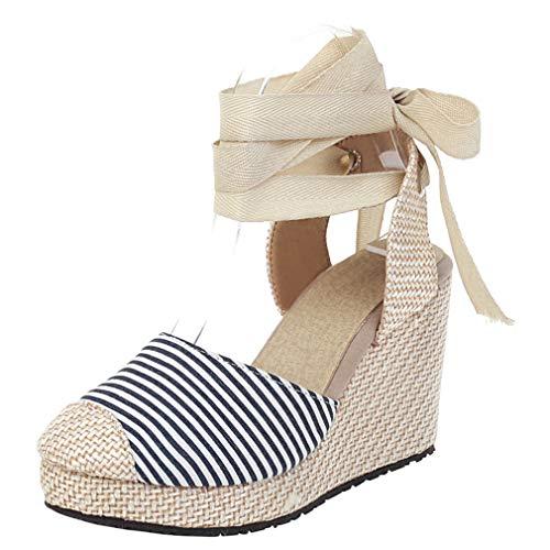 Wedges Sandaletten High Heels Plateau Sandalen mit Keilabsatz und Schnürung Absatz Espadrilles Damen Sommer Schuhe(Blau,34)