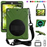 ZenRich New iPad 9.7 2017 2018 Case,360 Degree Rotatable with Kickstand,Hand Strap and Shoulder Strap case, 3 Layer Hybrid Heavy Duty Shockproof case for iPad 9.7 5th/6th Generation (Green)