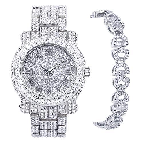 Reloj de plata Iced Out Pave – también disponible con pulsera a juego, PULSERA DE PLATA CON ENLACE MARINER, mens-standard
