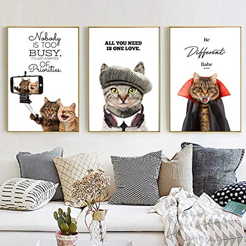 FGJF Cute Cat Animal Picture Sweet Home Decor Nordic Canvas Painting Wall Art Print Life Letter Poster for Modern Living Room-50X70Cmx3 Pcs Frameless