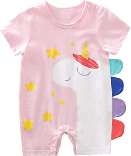 Unisexo Bebé Mono de Manga Corta para Recién nacido Mameluco de Algodón Body de Verano Peleles Lindo Pijama Traje de Dormi...