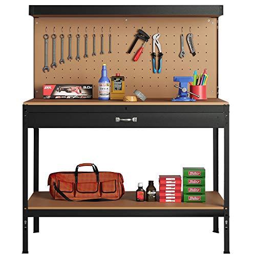 Steel Garage Work Bench Tool Box Workbench Storage With Drawers Pegboard and 12 Pegs Shelf Boltless DIY Workshop Station Heavy Duty 440kg Capacity (Black)