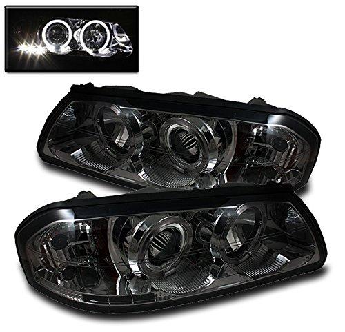 ZMAUTOPARTS Dual Halo LED Projector Headlights Headlamps Smoke For 2000-2005 Chevy Impala